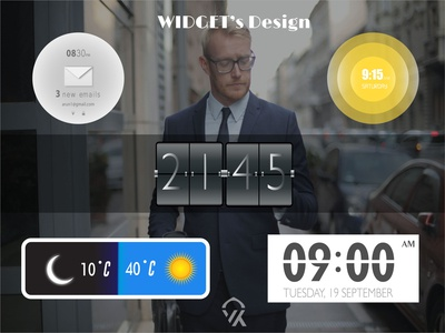 Clock/ Weather Widget Design night day art vector colour gradient time design widgets