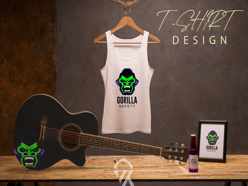 Gorilla T shirt Design t shirt designer branding logo poster illustration vector art tshirt