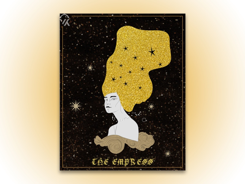 The Empress logo character design stars space poster art illustration magic power empress queen