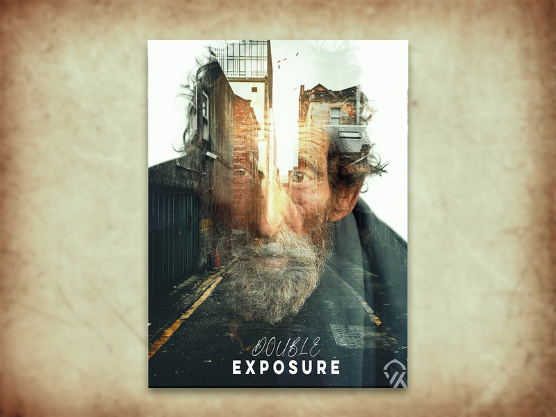 Double Exposure Design in Photoshop end time strugle loneliness street fighter old man art poster design photoshop