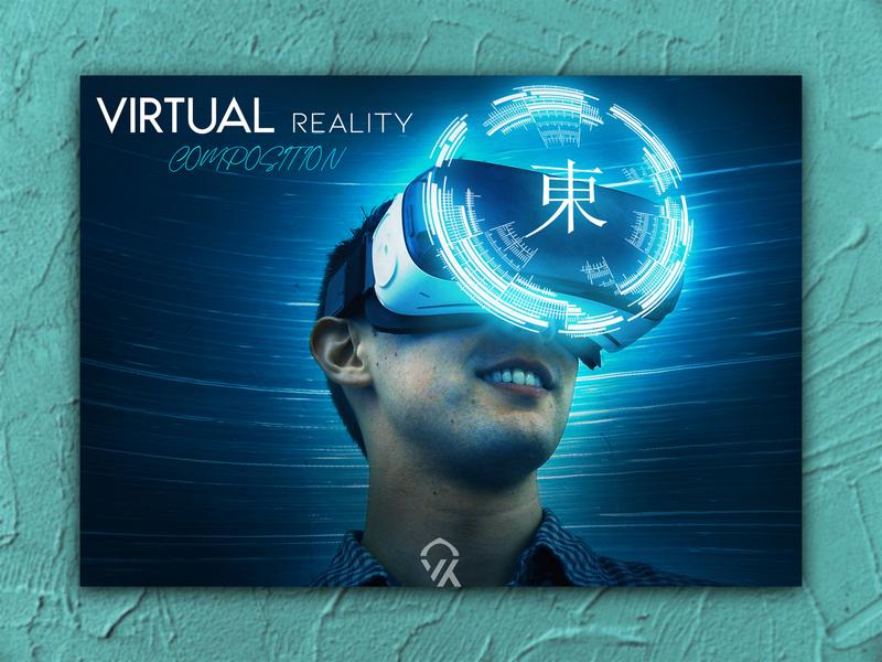 VERTUAL Reality Design in Photoshop logo games future technology virtual reality design reality portfolio software