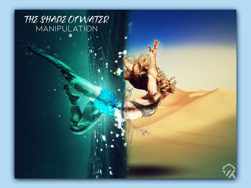 Manipulation Design in Photoshop peace shiney floating girl sand water photoshop art design photo manipulation