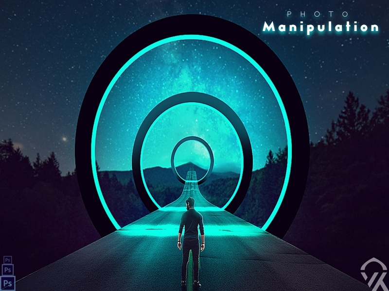 Fantasy Road With Circles Manipulation manipulation creativity effects color neon circles logo photoshop earth on heaven roadtrip road