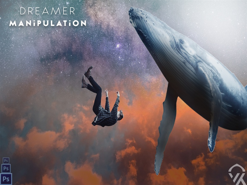 Dreaming Man Manipulation night logo space sky whales man manipulations design photoshop creativity color