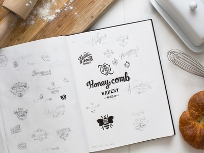 Brand Exploration honey comb lettering script honeycomb identity brand bee honey mark logo