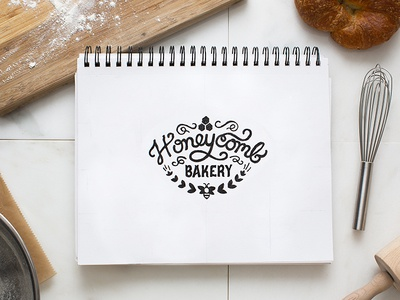 Honeycomb Bakery Logo sketch script hexagon bee vintage logo bakery honeycomb