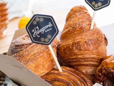 Pastry Tags food photography bakery logo gold mark pastry comb honey branding identity bakery