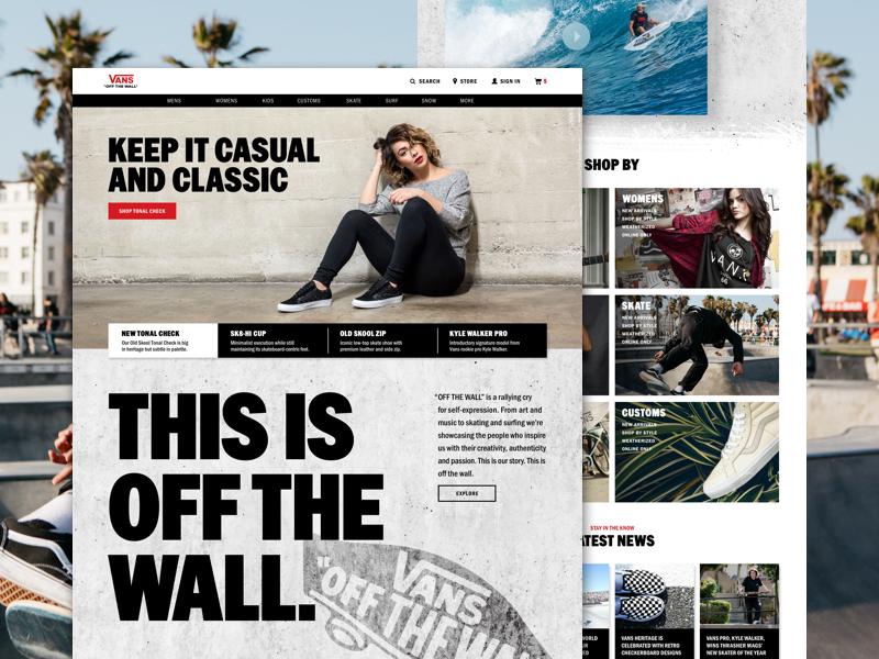 VANS Website Redesign Concept off the wall interaction website sneakers ecommerce skateboarding skateboard redesign vans web design uiux