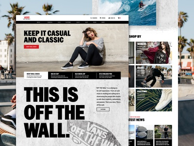 VANS Website Redesign Concept off the wall interaction website sneakers ecommerce skateboarding skateboard redesign vans web design uiux
