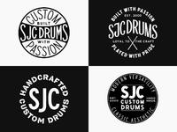 Sjc custom drums badges clean