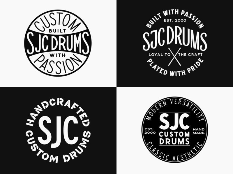 SJC Custom Drums - Badge Design brand design gritty badge hunting badge design badge drummer drumsticks drums typography custom lettering lettering