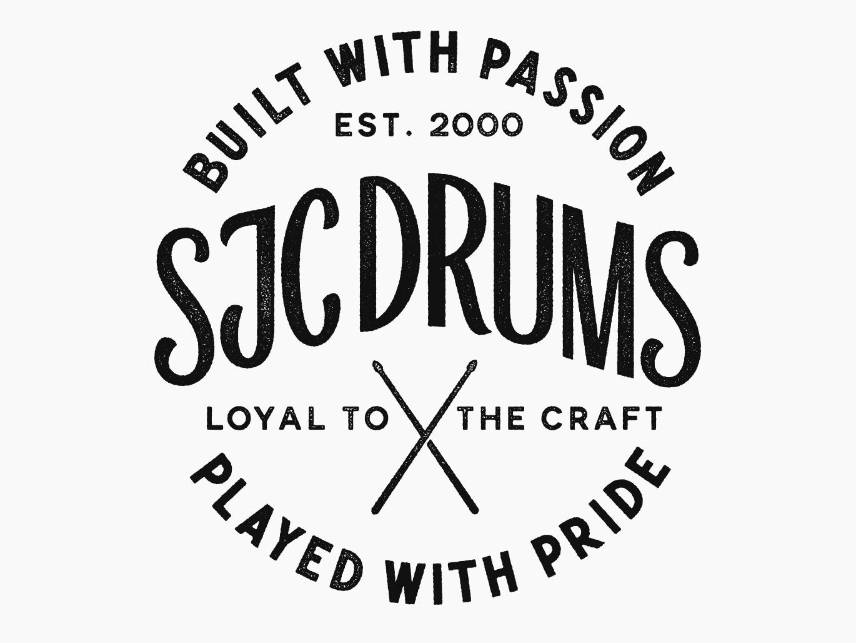 SJC Custom Drums Badge Texture Detail badge badge design illustration hand lettering custom lettering typography drumsticks gritty grit texture drums lettering