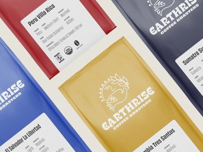Earthrise Coffee Roasters Packaging illustration coffee roaster brand design label packaging label design logotype logo typography custom lettering lettering coffee bag coffee packaging design packaging