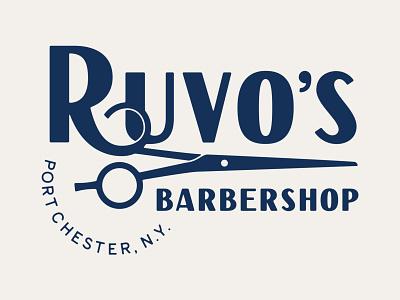 Ruvo's Barbershop Logo Lockup 1 lockups lockup new york barber shop barber logo barbershop barber barbers hand lettering custom lettering logo logotype typography lettering