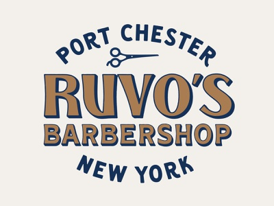 Ruvo's Barbershop Logo Lockup 2 new york lockups lockup barber logo barber shop barbershop barbers barber hand lettering custom lettering logo logotype typography lettering