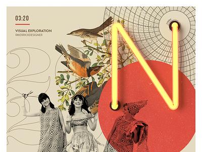 Day 01 - Digital Sketch collage type retro design typography illustration