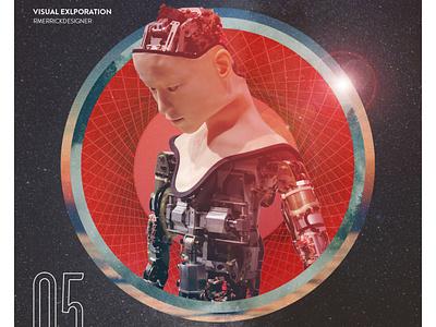 Day 05 - AI type retro texture typography illustration design collage robot
