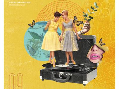 Day 09 - Ladies night design collage type retro daily texture typography illustration