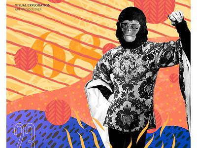 Day 23 - Ape photoshop sketch daily retro collage texture design illustration