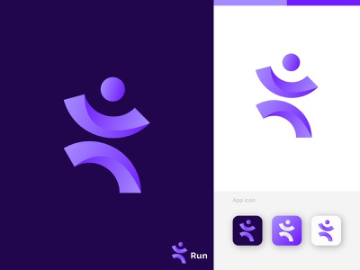Run initial logo design art abstract brand design brand identity graphic design motion graphics vector illustration typography colorful 3d animation ui design logos logotype logofolio branding logo design logo