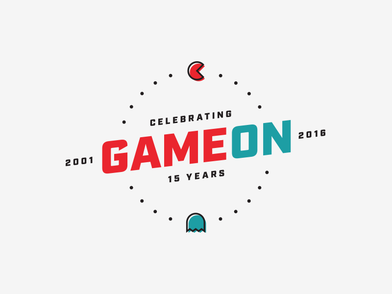 Game On (15th Anniversary) illustration logo vector 15 pacman celebration party anniversary branding brand
