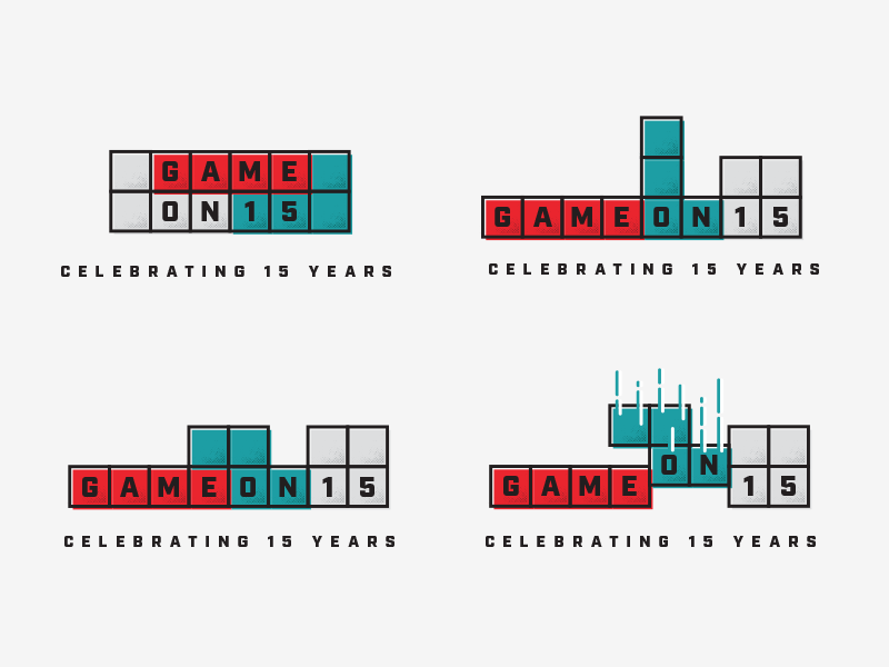Game On (15th Anniversary) getdemlines stackdemblocks vector tetris logo illustration celebration branding brand party anniversary 15