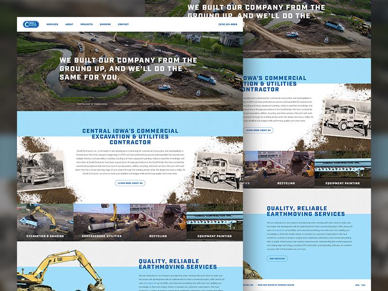 Corell Contractor website iowa contractor homepage web design web