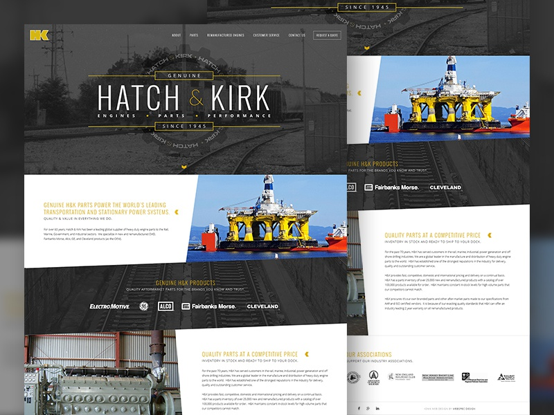 Hatch & Kirk engine locomotive train site web design website web