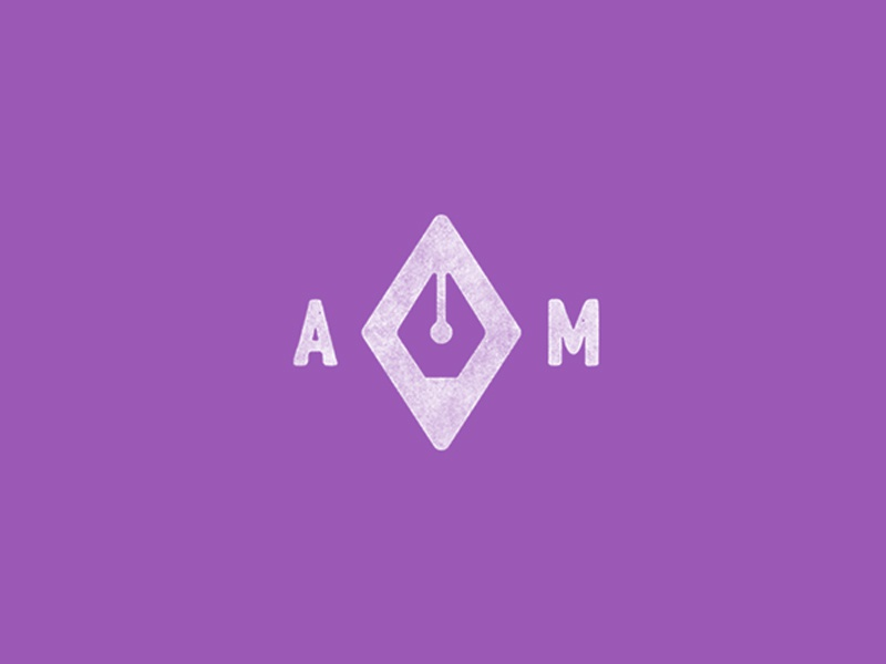 AM Logo texture diamond ink pen mark branding brand logo