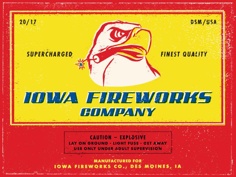 Iowa Fireworks Co. Postcard usa merica america explosive texture package label iowa eagle fireworks
