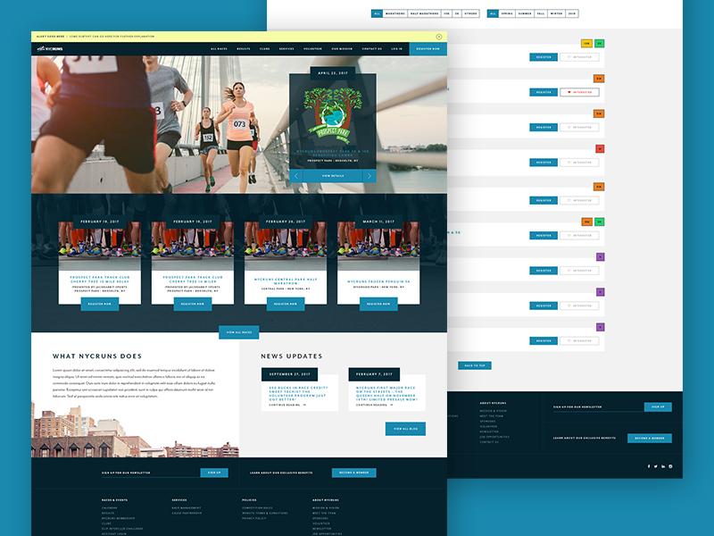 NYCRUNS run running athletics ui layout website site web design web redesign