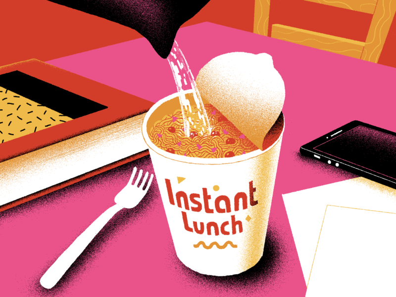 Instant memphis style studysoup table lunch food instant ramen color palette minimal illustration flat design branding