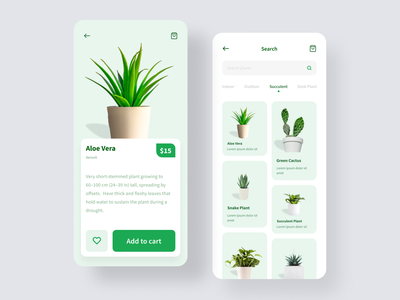 Mobile App — Plant Shop ux app design 2020 trend ui design clean minimal cards green plants shop plant shop plants plant mobile app design ui