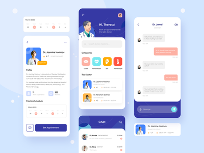 Mobile App — Doctor Consultation user inteface healthcare minimal dental appointment doctor appointment 2020 trend clean user interface mobile app design health app medicine illustrations illustration chat doctor app doctor consultation app ui