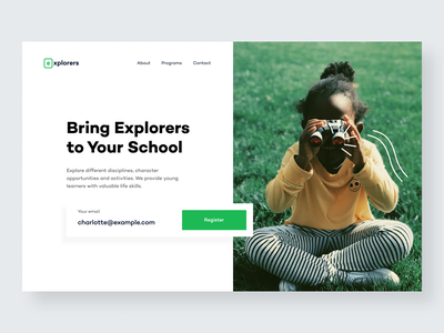 Explorers — Hero Website hero hero banner website design ux landing design homepage design minimal web design explorations explorers explorer exploration landing page website hero section hero image clean ui