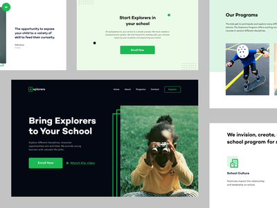 Explorers — Sections website ui design landing hero minimal webdesign ux ui landing design exploration explorer explore education sections homepage design home page landing page design clean presentation landing page