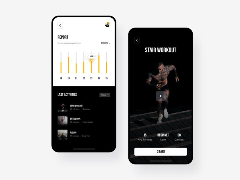 Workout App mobile app chart clean app design ui design design app user interface yoga workout tracker workouts workout app exercise workout mobile app design ui