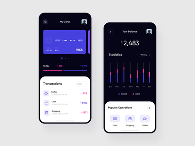 Mobile App — Finance finances card money management ui  ux bitcoin dark ui user interface budgeting budget app budget money clean ui design ui app dark mode money app finance app finance mobile app design