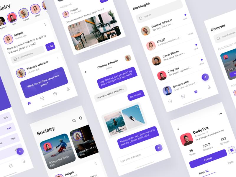 Socialry App trending ux design mobile app minimal popular clean user interface ui ux ui design app design social app social network social media applications app mobile app design