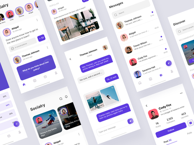 Socialry: Social App Design trending ux design mobile app minimal popular clean user interface ui ux ui design app design social app social network social media applications app mobile app design