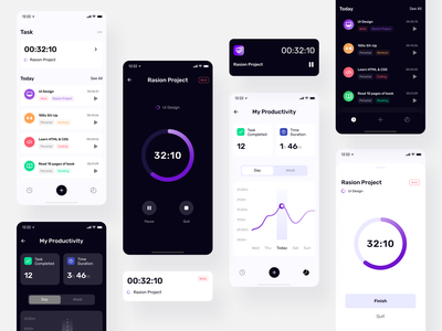 [FREEBIE] TimePad - Time Tracker UI Kit ui kits ui kit freebies figma design figma freebie free ux design app user interface mobile app design ui design time tracker timer time dark mode clean ui uikits uikit