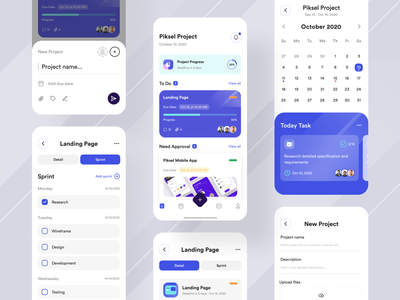 Planna - Project Management App ios app design application ios ux design minimal mobile ui blue ui  ux design app design ux management app project management tool project management asana trello user interface ui design mobile app design ui