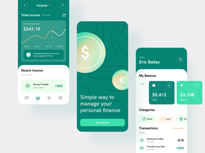 Moneyz - Finance Management App Design onboarding ui ux investment ui  ux ui design mobile app design gradient blurred background clean ui finance management money management finance app money app finances dashboard money finance saas user interface