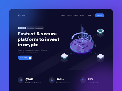 🎁 [Freebie] CRAPPO - Cryptocurrency Website gradient minimal blur geometry hero dark theme exploration website design clean glassmorphism glass crypto currency freebies freebie free crypto wallet crypto bitcoin cryptocurrency ui