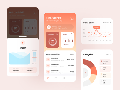 Health Tracker - Mobile App Exploration exploration clean ui gradient trend ux water health care calories health tracker health app healthcare healthy health user interface mobile app design clean ui