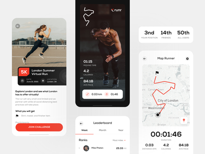 Runr: Running App Exploration 🏃🏻‍♂️ running map trends exploration run tracker run nike running runners virtual run run challenge running app runner running ux design app design ui design ux user interface mobile app design clean ui
