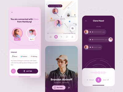 Friendzy: Make Friends with Strangers - Mobile App design user interface ux mobile ui friendly app meet new people social networking make friends friends app best friend app social app ux ui app minimal ui design mobile app design clean ui
