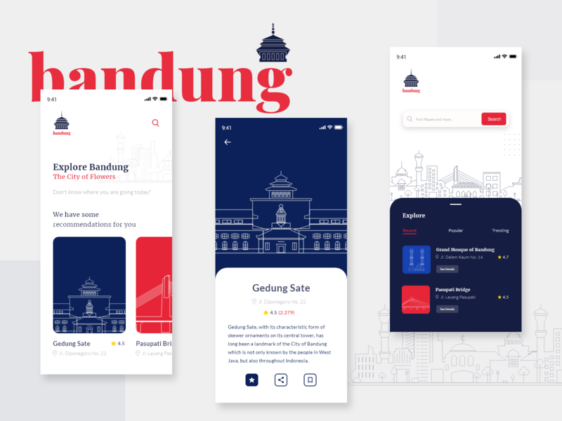Mobile App — Explore Bandung vector clean city explore explore city explore city guide smart city city illustration mobile app design ux design ui design minimal icon ux typography flat app illustration design ui