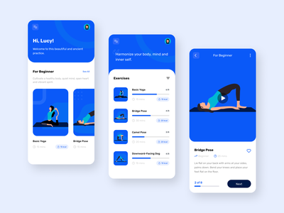 Mobile App — Yoga Exercise sport health app uxui meditation app meditation trend daily ui sports fitness app fitness health exercise yoga pose yoga app yoga user interface illustration mobile app design design ui