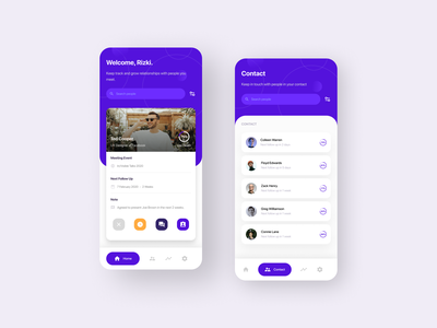 Mobile App — Professional Contact ui uiux app design home screen meetup trend user interface event app mobile ui contact purple linkedin professional event networking